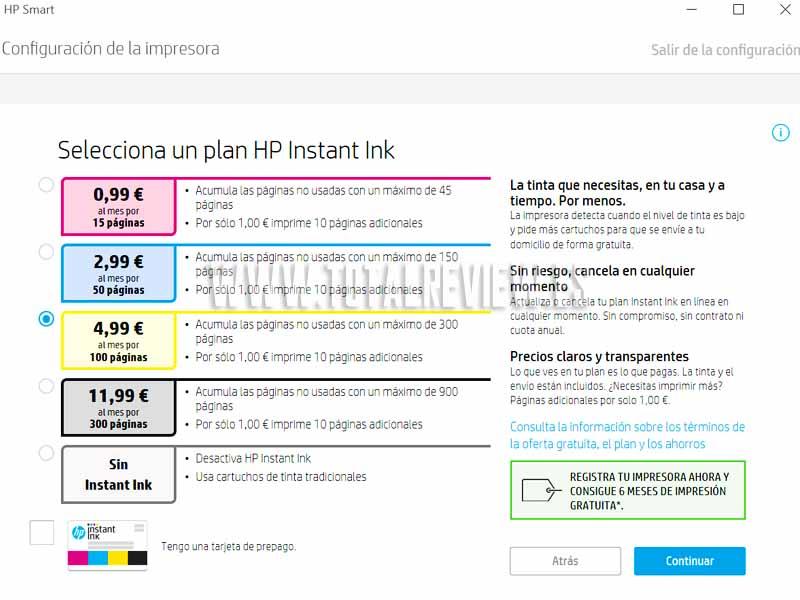 tinta de impresora HP con Instant Ink